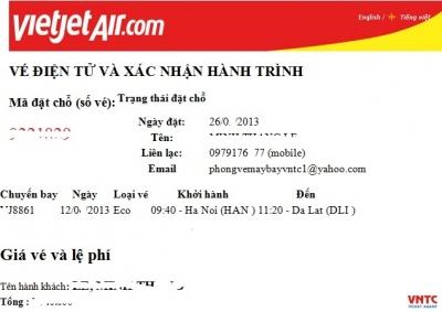 Mẫu vé điện tử Vietjet Air Điều kiện sử dụng vé Vietjet Air